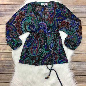 tibi multicolor/print silk wrap top